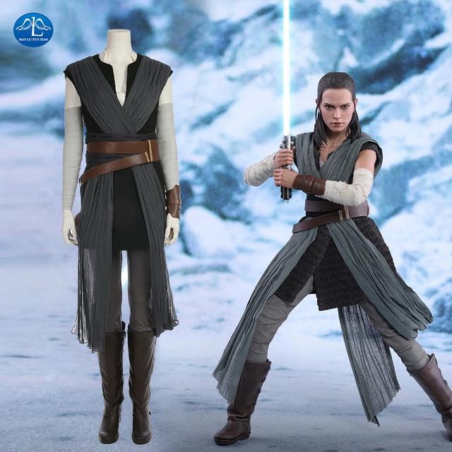 Movie Star Wars The Last Jedi Grey Rey Costume Women Adult Halloween