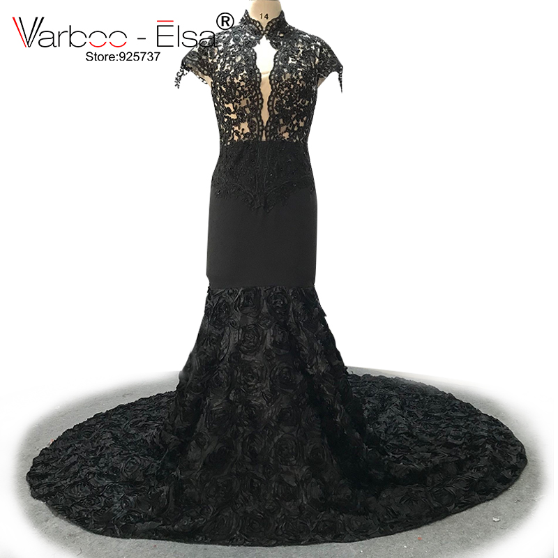 VARBOO ELSA Long Evening Dress 2018 black girl Mermaid Sheer Sleeveless Black Lace long train backless
