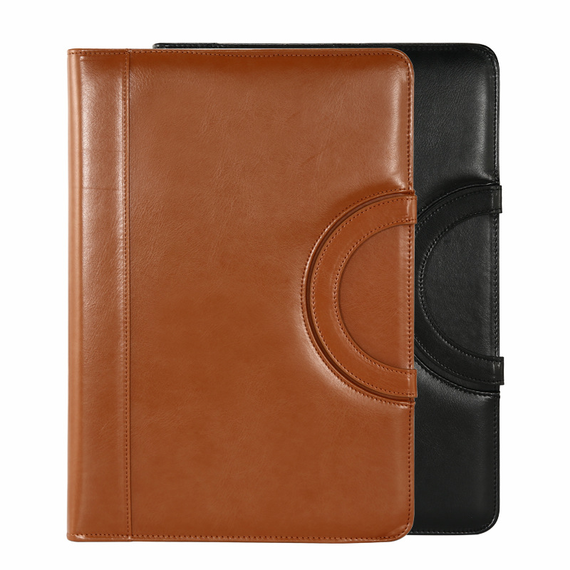 A4 Binder Folder PU Leather Portable Manager Padfolio Large Office Document Organizer Briefcase with Calculator Filing Products(China)