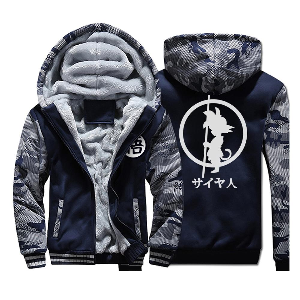 Japan Anime DRAGON BALL Z  Hoodies Men 2019 Winter Warm Jackets Fleece High Quality Thick Sweatshirts Plus Size Men's Coat