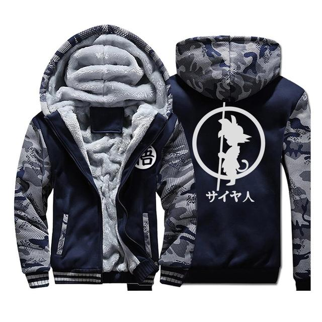 Japan Anime DRAGON BALL Z  Hoodies Men 2019 Winter Warm Jackets Fleece High Quality Thick Sweatshirts Plus Size Mens Coat