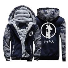 日本アニメドラゴンボール Z パーカー男性 2019 冬暖かいジャケットフリースパーカー高品質厚手スウェットプラスサイズメンズコート