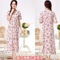 Frete grátis Plus Size mm 100% algodão de seda de ultra longa camisola feminino curto-luva de algodão de seda sleepwear derlook maternidade 2XL