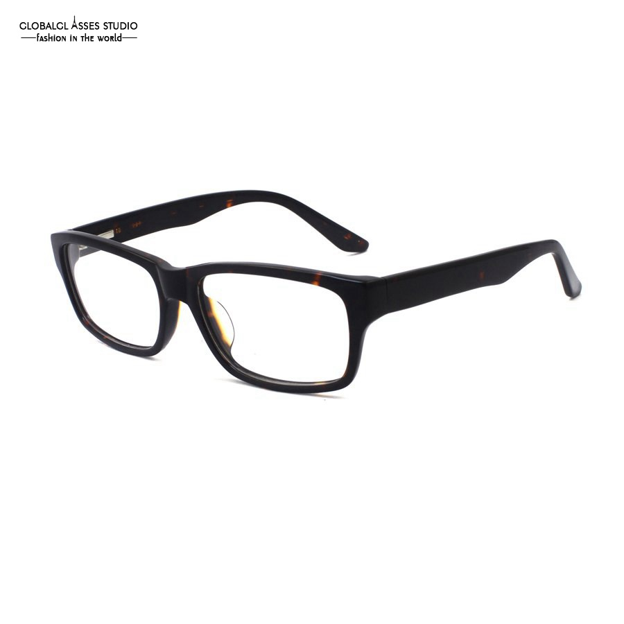 Big Rectangular Lens Acetate Glasses Frame Demi Frame Wide ...