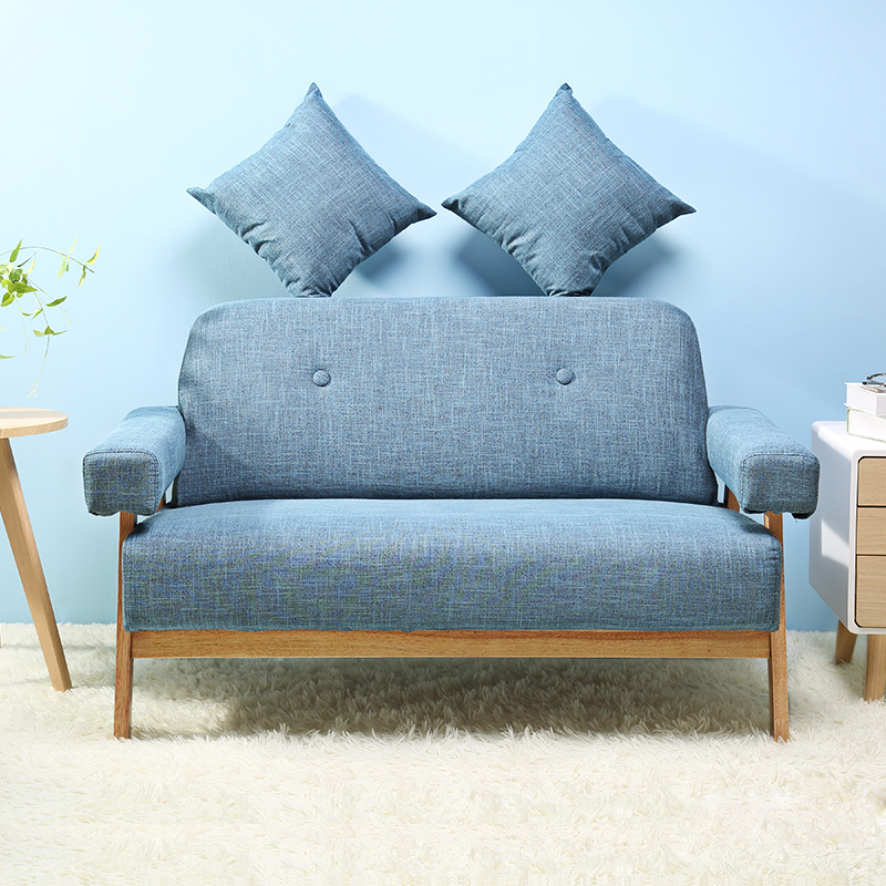 Mid Century Modern Colorful Linen Fabric Sofa Couch Loveseat Dark Grey/Blue  Color Living Room Furniture Home Corner Lazy Sofa  In Living Room Sofas  From ...