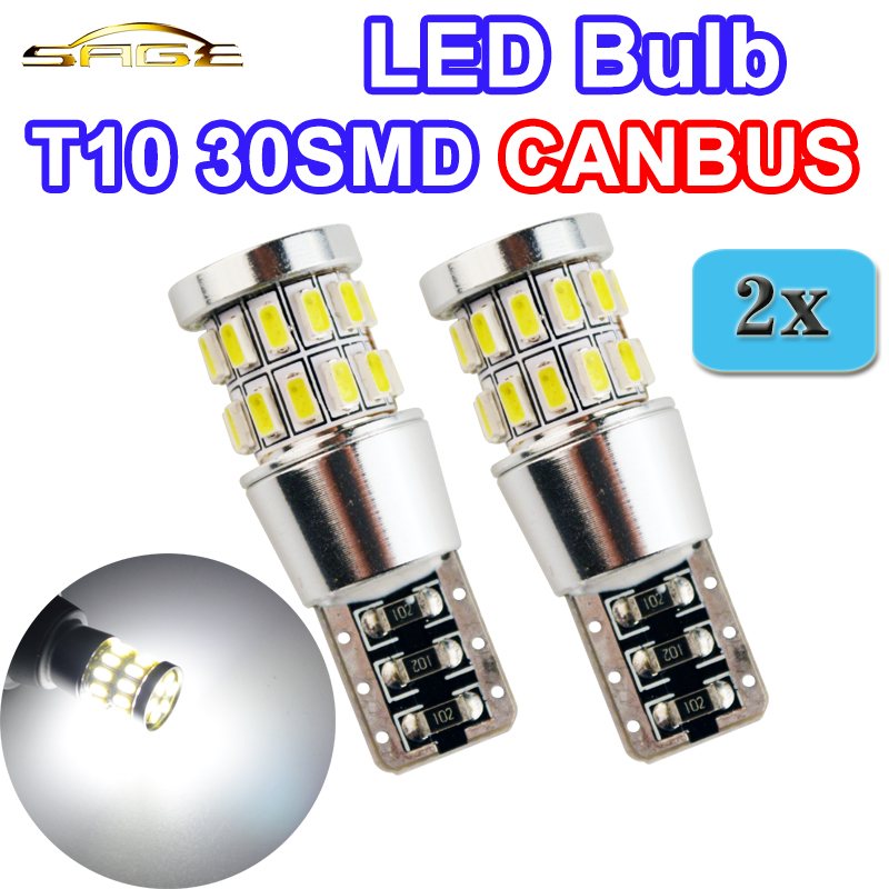 flytop 2 x T10 30SMD CANBUS 3014 LED 12V 3W 600Lm W5W 194 Car Light Auto Lamp White Color CAN BUS Error Free flytop t10 5smd led canbus 5050 smd w5w 194 error free car light auto bulb white red blue yellow color can bus automotive lamp