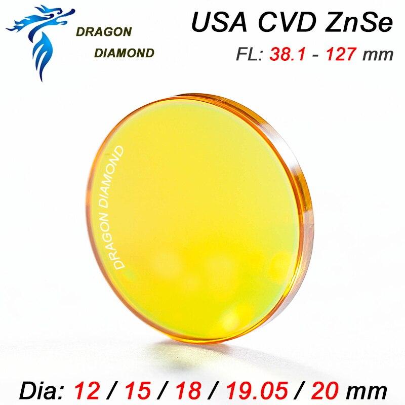 USA CVD ZnSe Co2-laser-objektiv 12mm 15mm 18mm 19,05mm 20mm Dia 38,1-127mm 1,5-5 zoll Fokus Länge spiegel Für CO2 Laser maschine