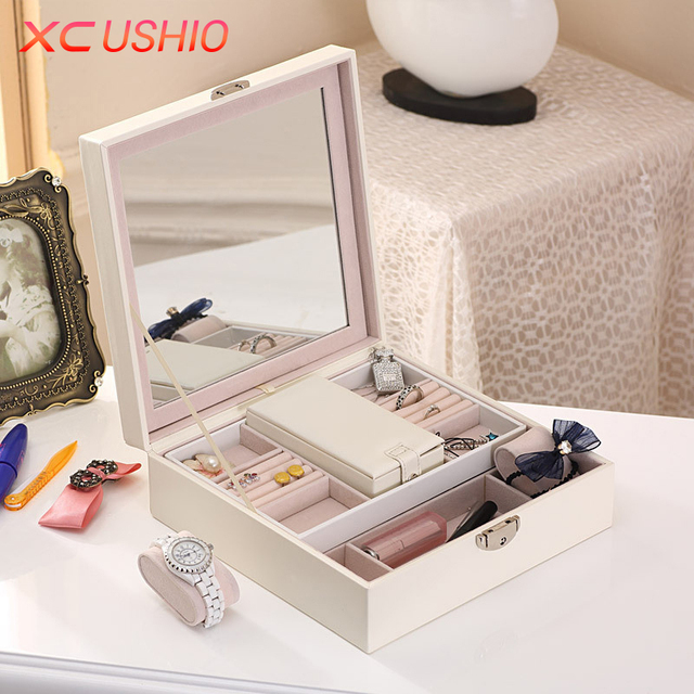 Large Capacity PU Leather Jewelry Organizer Box Detachable Travel
