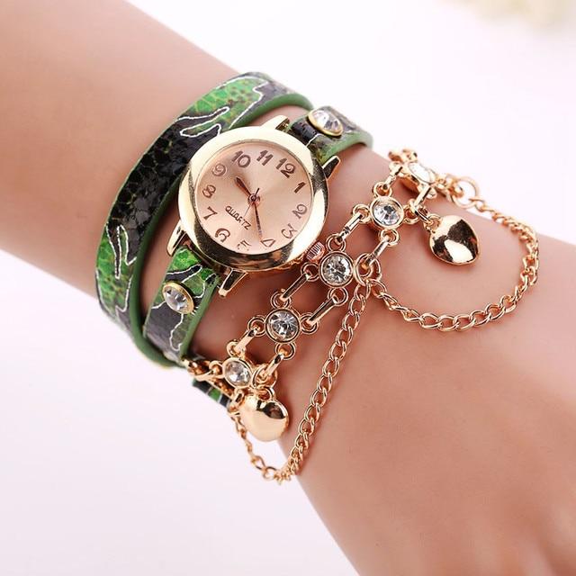 Splendid Top Brand Luxury Leather Bracelet Watches Women Fashion Rose Gold Diamo