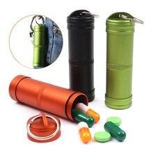 Caja de Pastillas de Supervivencia que acampa Impermeable Medicina Aluminio Botella Contenedor Llavero EDC Gear Herramienta de Emergencia Al Aire Libre Kits de Viaje