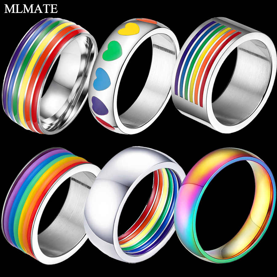 Mens Womens Rainbow Colorful LGBT Pulsera Ring Stainless Steel Wedding Band Lebian & Gay Rings Drop Shipping
