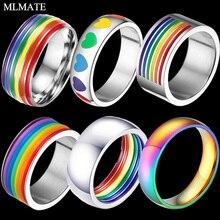 MLMATE Mens coloridos Arco Iris LGBT anillo de acero inoxidable banda de boda Lebian y Gay anillos envío de la gota