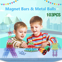 103pcs Magnet Bars Metal Balls Kids Magnetic Building Blocks Construction Toy Accessories DIY Designer Educational Funny