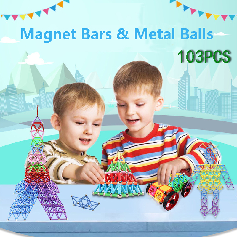 103pcs Magnet Bars & Metal Balls Kids Magnetic Building Blocks Construction Toy Accessories DIY Designer Educational Funny Toys diy piececool 3d metal model toy dinosaur rock p062s orignal design puzzle 3d metal educational models brinquedos kids toys