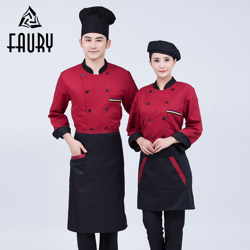 Unisex Kitchen Work Wear Clothing Long Sleeve Double Breasted 2018 New Chef Jackets Catering Hotel Cafe Bakery BBQ Cook Uniforms
