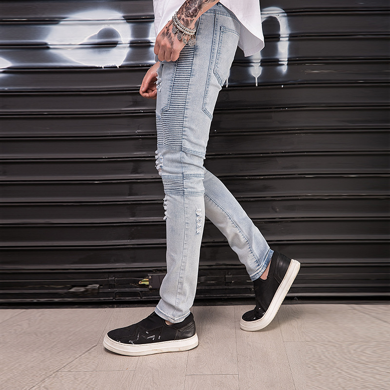 Top Quality 2020 Fashion Casual Slim Hip Hop Ripped Hole Jeans Men's  Splicing Elastic Pleated Locomotive Biker Jeans Trousers