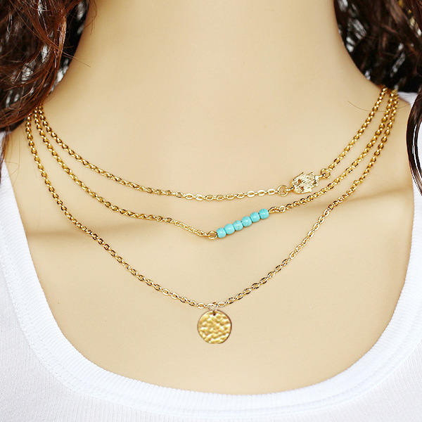 European and American fashion street, retro elements, sequins, pine stones, multi-layered short necklace, women's accessories
