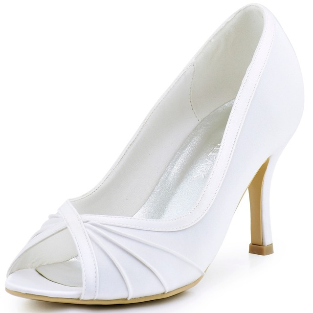 HP1562 Women Bride Bridesmaids Girls Satin Pumps High Heel Party Prom  Ladies Wedding Bridal Dress Evening Shoes white ivory blue 67c6a6518b79