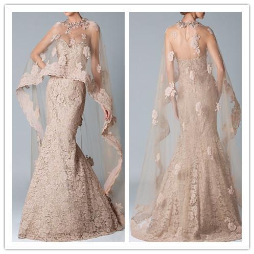 2016 Vestidos Champagne encaje vestidos de baile con mantón Robe De soirée sirena Larga de encaje madre de los vestidos de novia para boda