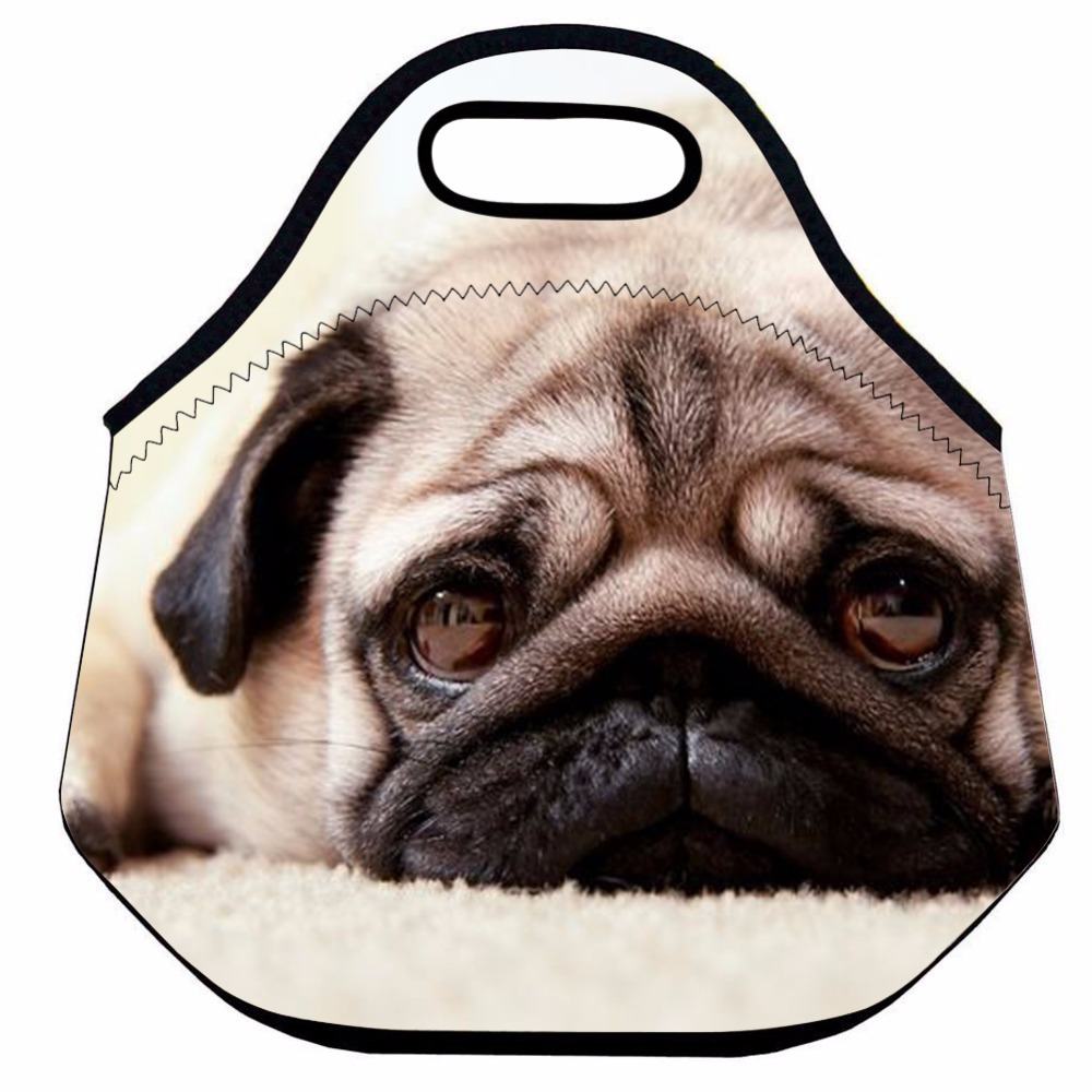 Cute Dog Lunch Bags for Women,Insulated Neoprene Thermal Lunch Bag for Kids,Animal Cooler Bag,School Food Box Bag