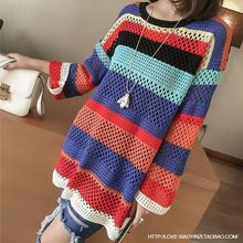 2016 New Womens Fashion Long Style Cotton Sweaters Womens O-Neck Patchwork Pattern Pullovers
