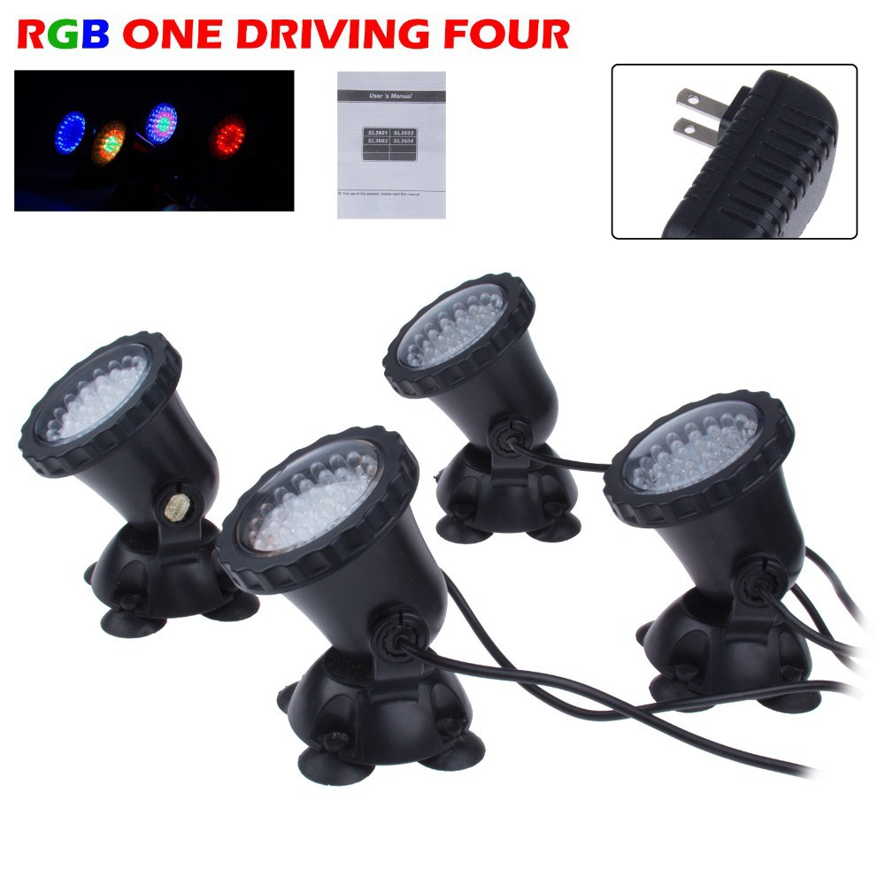 4 In 1 36 LED RGB Outdoor Submersible Underwater Lamp Spot Light For Water  Garden Fish Tank Pond Fountain Aquarium Led Lighting