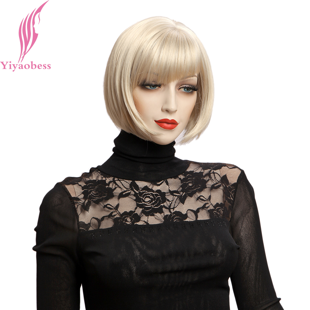 Yiyaobess 10inch Blond Paryk Med Bangs Syntetisk Natural Hair - Syntetiskt hår - Foto 2