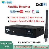 1 Year Europe 7 Clines Server DVB S2 pluto S9 HD Digital Satellite Receiver DVB S2 V7S HD Full 1080P+USB WIFI Upgrade PK V8 NOVA
