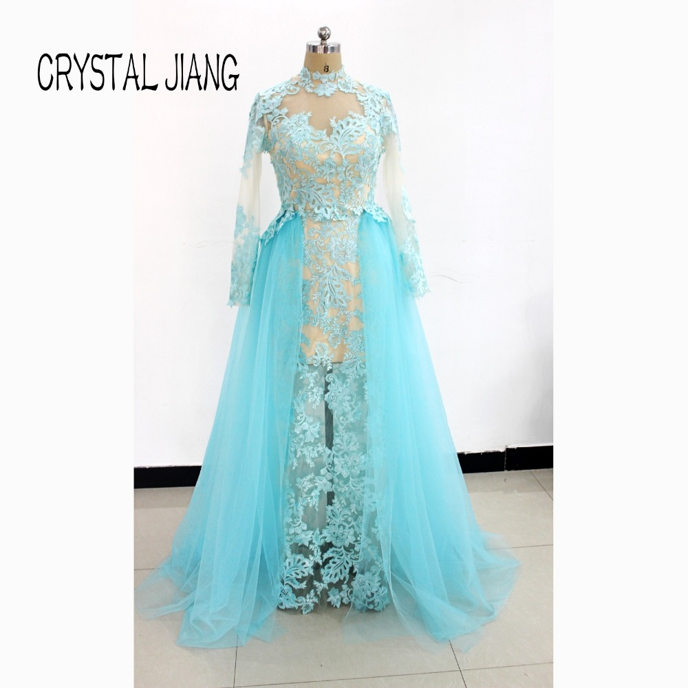 2018 New Fashion High Neck Full Lace Applique Custom made Long Sleeves Arabic Style Red Carpet Celebrity Evening Dresses
