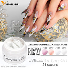 60915# Venalisa brand 15ml nail art transparent clear, white ,pink, natural camouflage color hard jelly builder nail extend gel