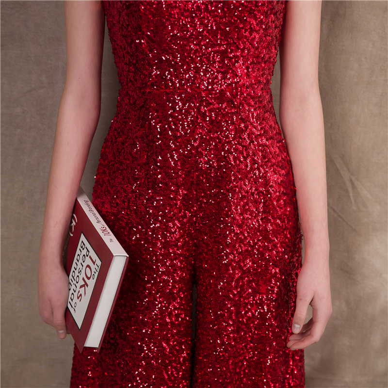 It s Yiiya Red Spaghetti Strap Sequined Zipper Empire Party Dresses Elegant  Jumpsuit Formal Pant Suit Evening Dress Pants NX002-in Evening Dresses from  ... 8b0beaf2e3a3