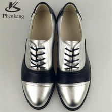 Genuine leather big woman US size 11 designer vintage flat shoes round toe handmade silver black 2017 oxford shoes for women fur