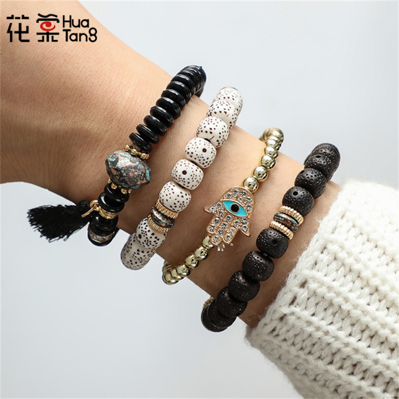 Huatang Hand-Tassel Bangle Bracelet-Set Stone Beadeds Bohemian Women Adjustable Colorful