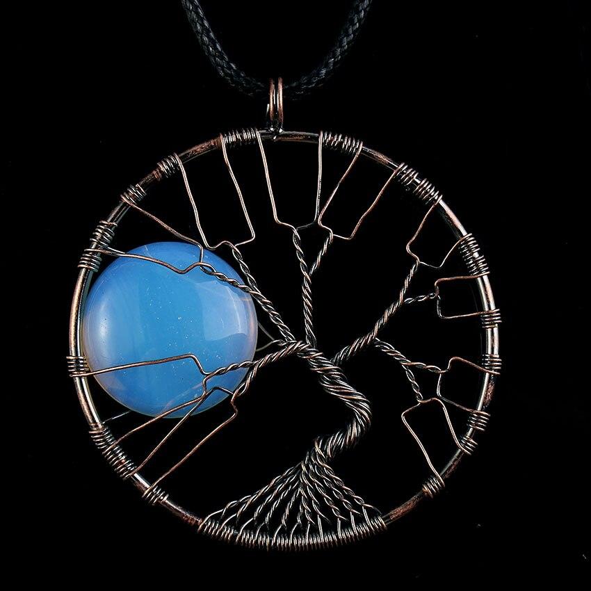 100 jedinečný 1 ks nový design měděné dráty zábal strom života opálit opálová čakra přívěsek lanový řetízek