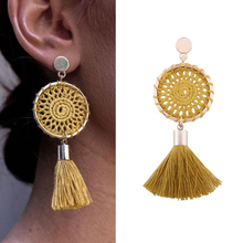 Crazy Feng Vintage Ethnic 6 Colors Tassel Earrings For Women Handmade Rose Gold Chandelier Drop Earring Boho Statement Brincos