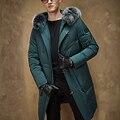 Nova chegada de inverno dos homens para baixo casaco masculino pato para baixo casaco de médio-longo fino para baixo casaco outerwear roupas de inverno gola de pele de raposa