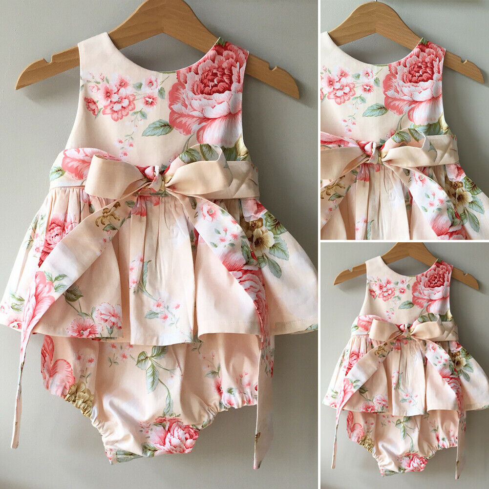 Newborn Baby Girl Clothes Sleeveless Floral Print Ruffle Bodysuit Jumpsuit Bowknot Outfits Clothes