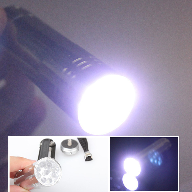 Silver Alloy Mini Flashlight 9 LED Small Hand Torch Light Tools DC112