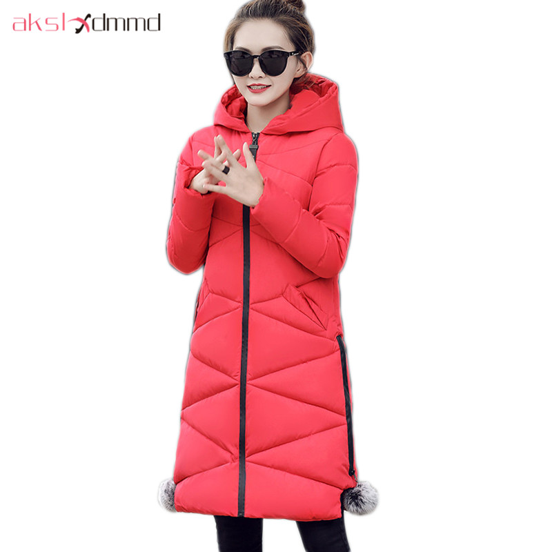 AKSLXDMMD Parka Mujer Female Outerwear Winter Coat 2017 New Fashion Slim Winter Jacket Plus Size Cotton Hooded Jacket LH1149 akslxdmmd casual women winter jacket 2017 new slim hooded cotton coat female plus size overcoat student parkas mujer lh1181