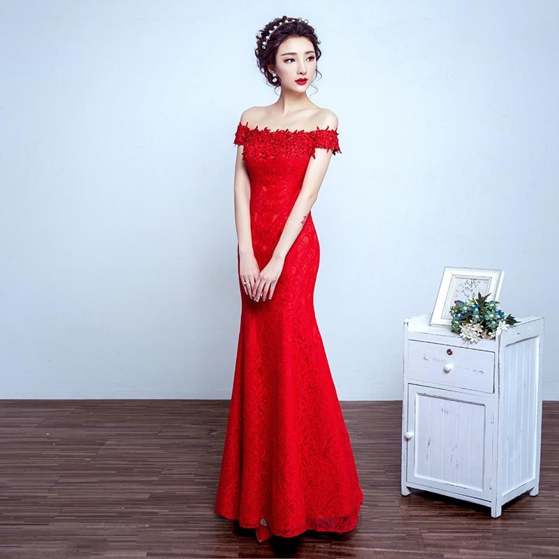 Robe de soiree 2019 rød bukett kjole av skulder fishtail Lace Up - Spesielle anledninger kjoler - Bilde 3