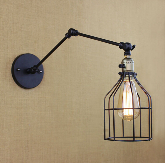 ФОТО Loft Industrial Vintage Edison Wall Lamp Black Fixtures For Bar Cafe Home Lighting Wall Sconce Arandela Lamparas De Pared
