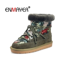 ENMAYER Suede Woman Ankle Boots for Women Winter Snow Size 34-39 Warm Flowers Low heels Shoes women embroidered CR1985