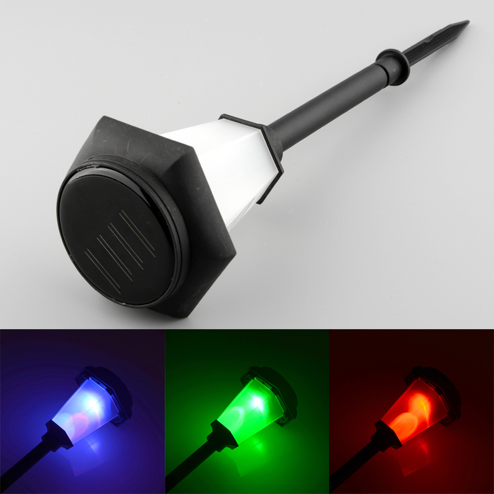 Solar Power LED 3-Color Changing Bright Efficient Garden Yard Landscape Stake Lawn Bulbs Decor Light