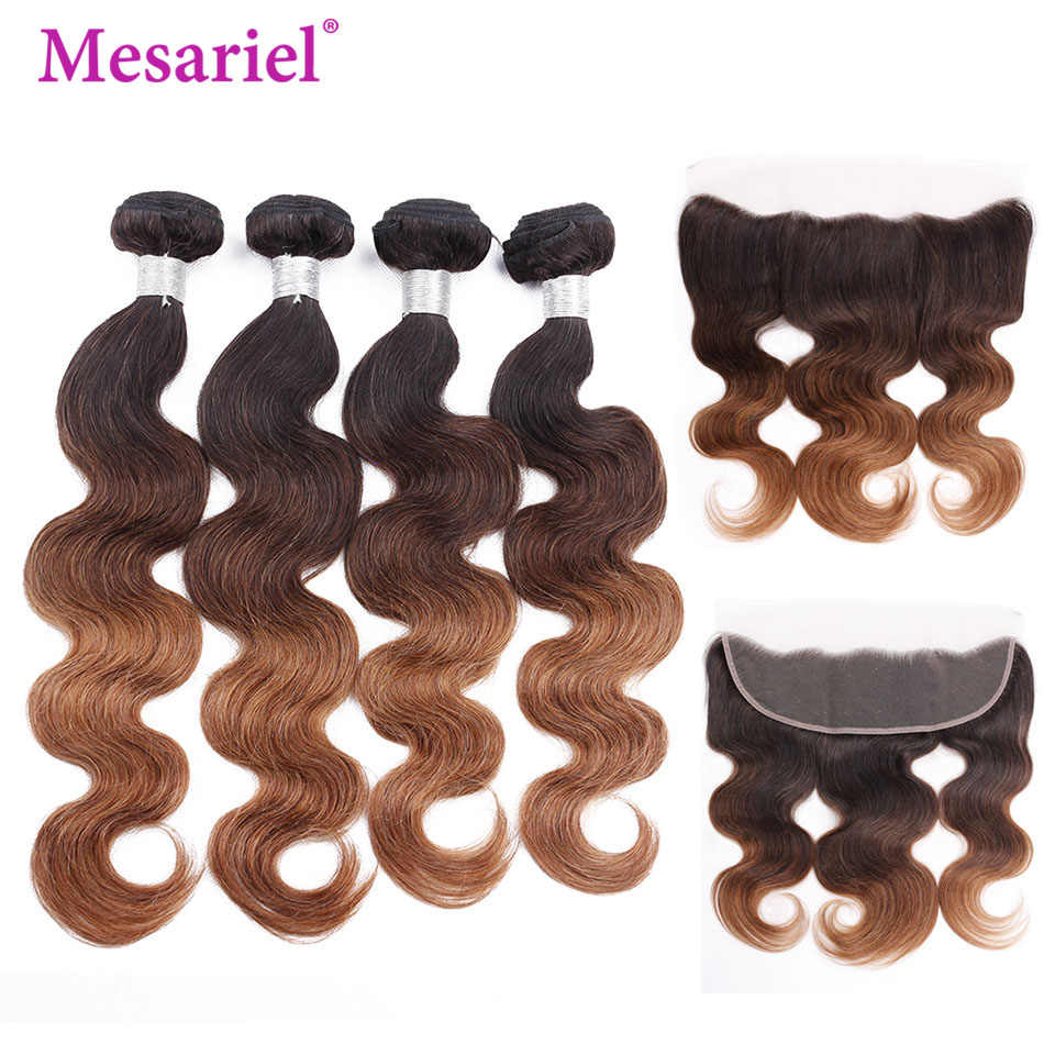 Mesariel Ombre 2/3/4 Bundles With Frontal Ear To Ear Lace Frontal With Bundles Brazilian Body Wave With Frontal Remy 1b/4/30