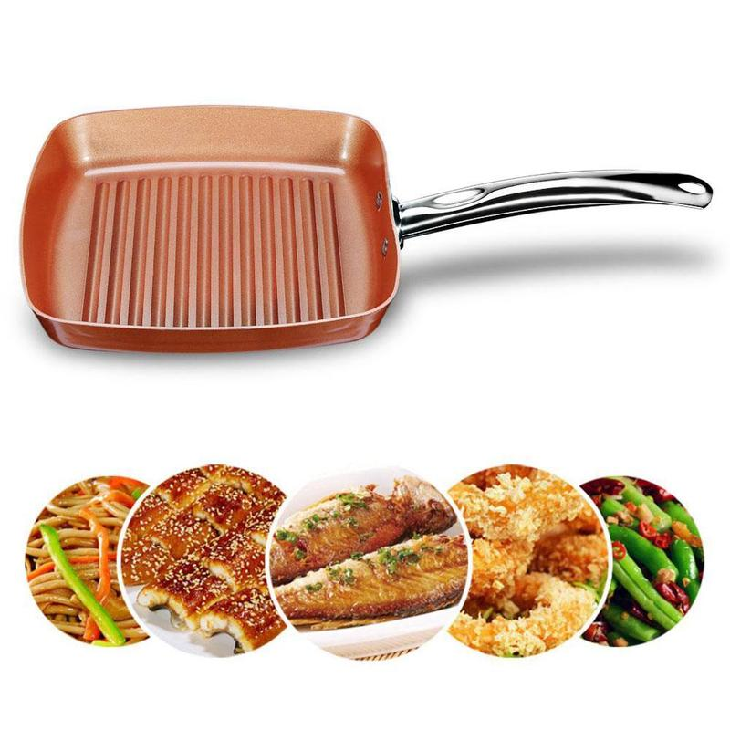Non-stick Frying Pan Frigideira Copper Grill Pan Wave Surface Square Grill Frying Pan With Coating Kitchen Cookware CFA6701