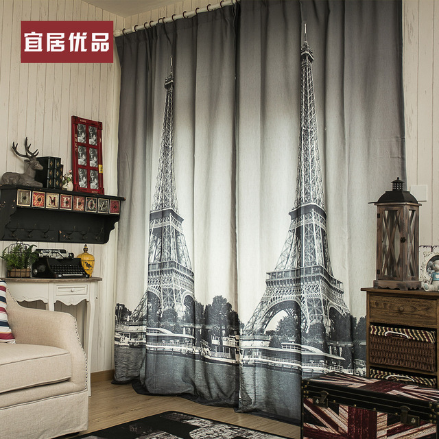 3d Black And White Paris Living Room Curtains Blackout Curtains 13