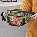 New fashion women waist bag canvas ethnic embroidery vintage style  bag   high quality TravellerMood