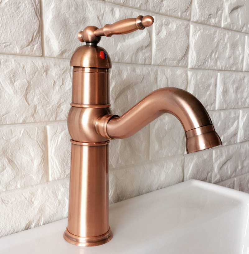 Antique Red Copper Brass Single Handle Lever Bathroom Kitchen Basin Sink Faucet Mixer Tap Swivel Spout Deck Mounted Mnf389