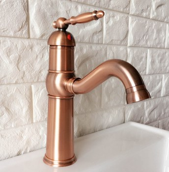 Antique Red Copper Brass Single Handle Lever Bathroom Kitchen Basin Sink Faucet Mixer Tap Swivel Spout Deck Mounted mnf389 antique brass bathroom basin faucet waterfall spout vanity sink mixer tap single handle one hole deck mounted kd1270