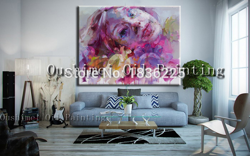 Colorful Oil Painting Famous Painter Abstract Women Modern Woman Portrait Face Of Beautiful Girl In Calligraphy From